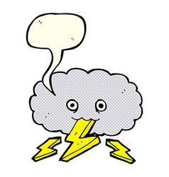 cartoon thundercloud with speech bubble vector image