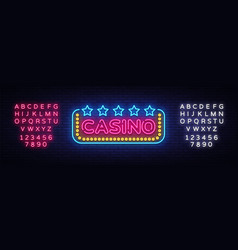 casino neon sign design template casino vector image