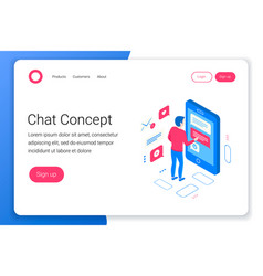 chat isometric concept vector image