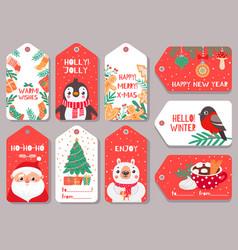 christmas tag winter holiday xmas gift labels vector image