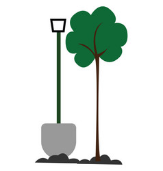 Clipart long shovel and green tree or vector