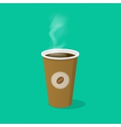 Coffee cup with bean logo and steam vector image