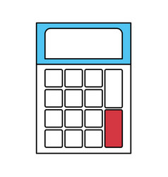 Color sectors silhouette of calculator icon vector