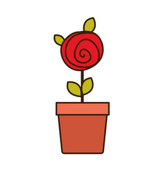 Colorful drawing red rose with leaves and stem in vector