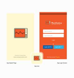 Company ecg splash screen and login page design vector