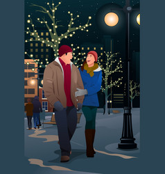 Couple walking on street on a winter evening vector