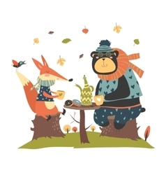 Cute fox with bear drinking tea in the autumn vector image