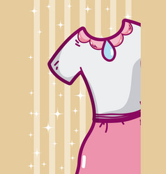 cute girl dress cartoon vector image