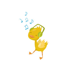 Cute little yellow duckling character listening vector