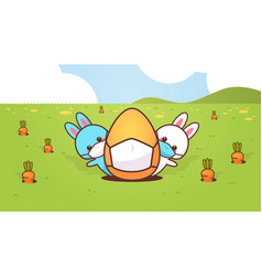 Cute rabbits with egg wearing mask to prevent vector