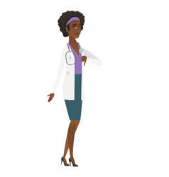 Disappointed african doctor with thumb down vector