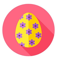 Easter Egg with Floral Decor Circle Icon vector image