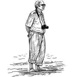 Elderly photographer on vacation vector