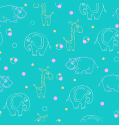 Endless pattern of animals giraffe hippopotamus vector