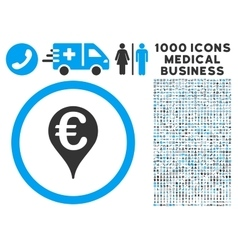Euro Bank Map Pointer Icon with 1000 Medical vector image