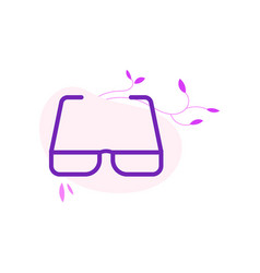 eyeglasses with violet frame in flat style vector image