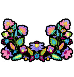 Fantasy flowers embroidery symmetric patch vector