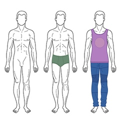 Fashion man outlined template full length vector