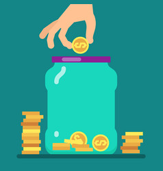 flat money saving concept with golden coins and vector image