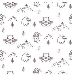 Forest alpine fauna seamless pattern mountain vector