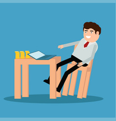 Freelancer is sitting at the desk vector