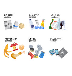Garbage sorting food waste glass metal vector