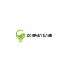 green eco light bulb abstract company logo vector image