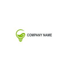 Green eco light bulb abstract company logo vector