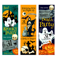 halloween pumpkin and ghost october holiday banner vector image