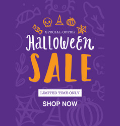 halloween sale poster or flyer design vector image