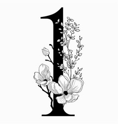 Hand drawn floral number one monogram and vector