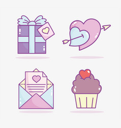 happy valentines day gift box cupcake mail vector image