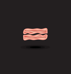 Icon two slices pork bacon vector