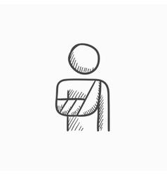 Injured man sketch icon vector