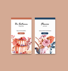 instagram template with autumn flower concept vector image