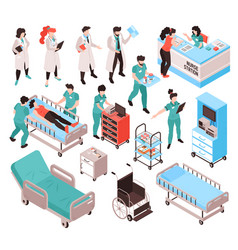 isometric hospital workers set vector image