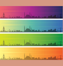 istanbul multiple color gradient skyline banner vector image