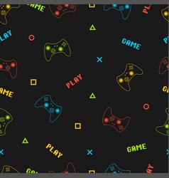 Joystick gamepad seamless pattern with pixel text vector