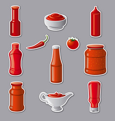 Ketchups and sauces stickers vector