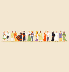 large collection of national costumes vector image