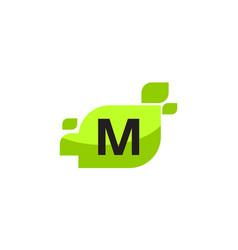 leaf initial m logo design template vector image