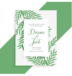 leaves style wedding invitation template vector image