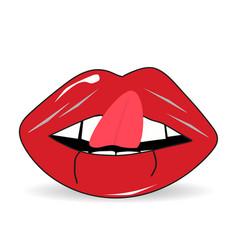 lips tongue teeth with shadow vector image