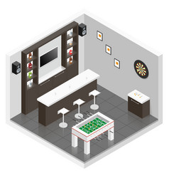 Lounge for men room isometric icon set vector image