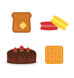 macaroon fresh baked bread products icons vector image