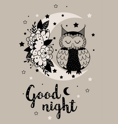 Magic poster with owl on floral moon vector