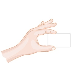 Man hand holding a card blank vector image