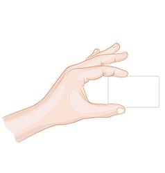 Man hand holding a card blank vector