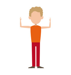 Man male cartoon faceless standing gesture image vector
