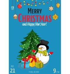 Merry Christmas Placard for Holiday Party Ad vector image